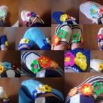 tığ işi renkli çiçekli patik örnekleri
