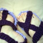 tığ işi sandalet patik modeli