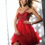 tek omuzlu kırmızı mini elbise