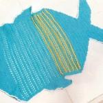 turkkuaz renkli tığ örme balık desenli paspas