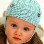 turkuaz şiş örgü bebek beresi modeli