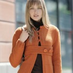 turuncu kalın düğmeli örgü ceket modeli örneği