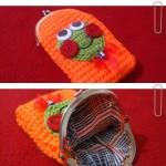 turuncu yeşil suratlı örgü telefon kılıfı örneği