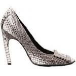 yılan derisi topuklu tokalı ayakkabı