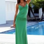 yesil askılı maksi elbise modeli