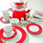 çok şık dallı desenli güral porselen kahvaltı takımı