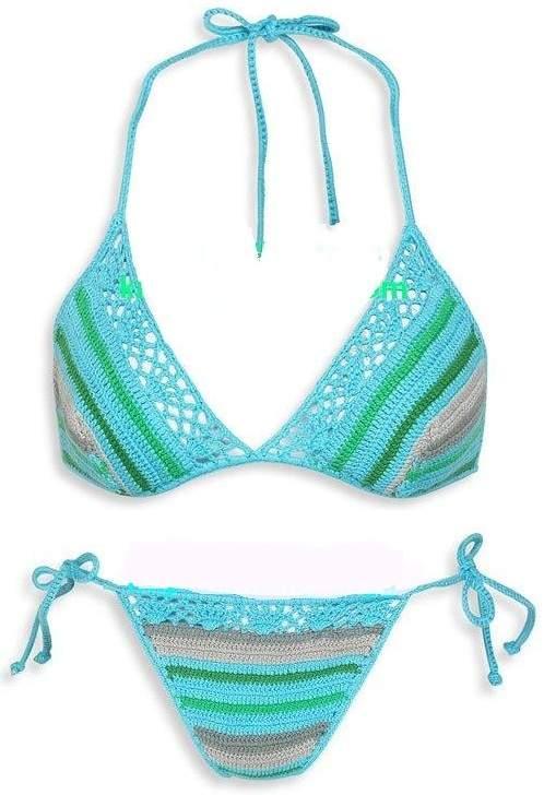 örgü iki renkli bikini modeli
