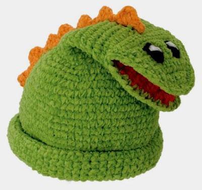 örgüden timsahlı bebek şapkası