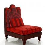 tasarım kırmızı kahve ahşap detaylı tekli koltuk modeli