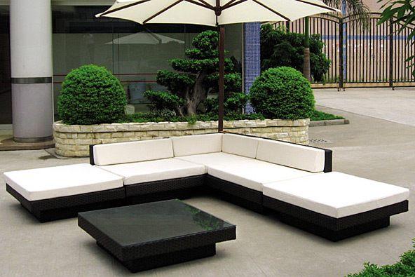 Hasır Beyaz mMideli L Koltuk Bahçe Mobilyası
