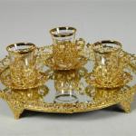 altın yaldızlı harika çay tepsileri