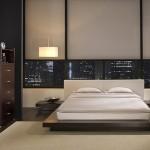 beyaz başlıklı ağaç kaplama yatak odası örnekleri