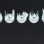 dünya şehirleri dekoratif saat seti