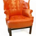 dekoratif deri turuncu tekli koltuk modeli
