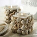 deniz kabuklu harika dekoratif mumluklar