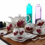 en yeni güllü güral porselen kahvaltı takımı