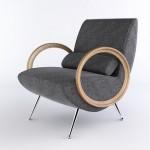 gri metal ayaklı ahşap kollu tekli koltuk modeli