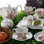 harika çiçekli güral porselen kahvaltı takımı