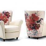 italyan beyaz üzerine kırmı çiçek baskılı berjer koltuk modeli