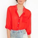 kırmızı şifon gömlek modeli