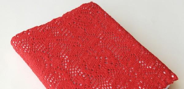 kırmızı dantel örgülü defter kalıbı örneği