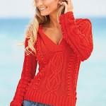 kırmızı el örgüsü v yaka bayan kazak resmi