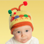 karınca desenli örgü bebek şapkası