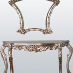 klasik gümüş yaldızlı aynalı dresuar modeli