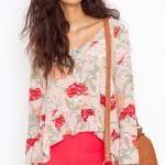 krem çiçekli şifon bluz