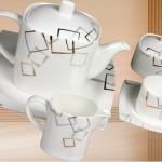 modern çizgili en yeni güral porselen kahvaltı seti