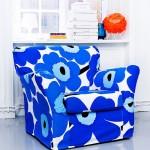 modern spor mavi çiçekli kumaş tekli koltuk modeli
