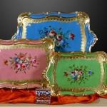 porselen şıklığında ahşap çay tepsileri