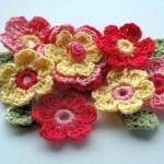 renkli çiçek örgü motifleri