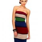 renkli çizgili modern penye elbise