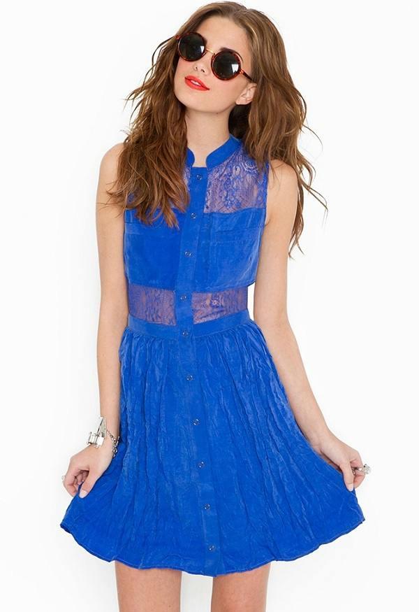 saks mavisi kolsuz dantelli elbise modelleri