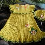 sarı tatlı bebek elbise örnekleri