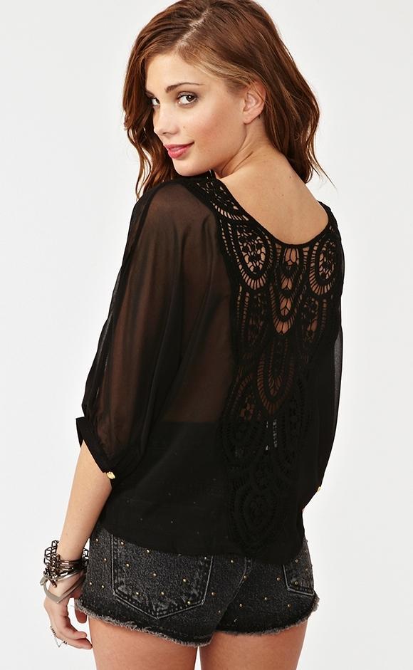 siyah arkası dantelli şifon bluzlar