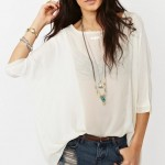 yarasa kollu beyaz şifon bluz modelleri