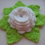 yeşil yapraklı beyaz gül motifi