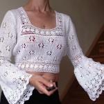 çan kollu mini beyaz örgü bluz örneği