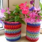 örgü çiçek saksısı süsleme teknikleri