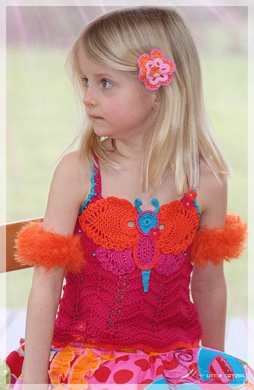 örgü kırmızı turuncu kelebek detaylı çocuk bluzu