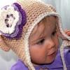 örgü tığ işi krem mor çiçekli bebek şapkası