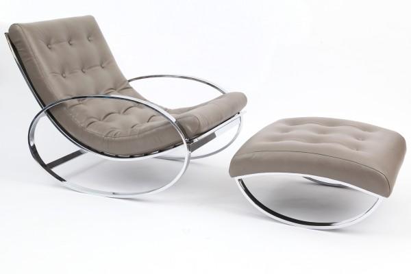 İtalyan krom ve deri sallanan koltuk modeli