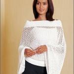 Beyaz yazlık file örgü bluz