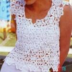 Motifli Beyaz Yazlık Bluz