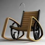 ahşap siyah ve ahşap tonlarda sallanan sandalyeler