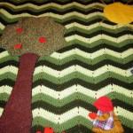 aplike süslü örgü bebek battaniyesi