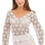 beyaz V yakalı dantel bluz-modeli