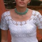 beyaz yarım kollu örgü bluz modeli
